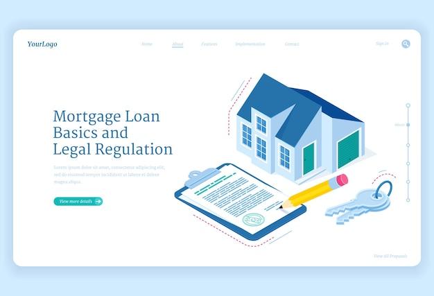 Page de destination isométrique de la réglementation des prêts hypothécaires. cottage maison avec clé et document contractuel pour signer. ajustement de base et juridique de la dette hypothécaire, crédit bancaire personnel pour l'achat d'une maison, bannière web 3d