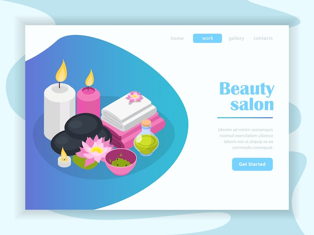 Page de destination isométrique de salon de beauté