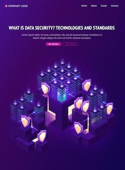 Page de destination isométrique de la sécurité des données cybernétiques