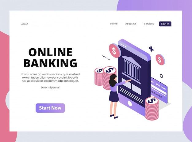 Page de destination isométrique des services bancaires en ligne
