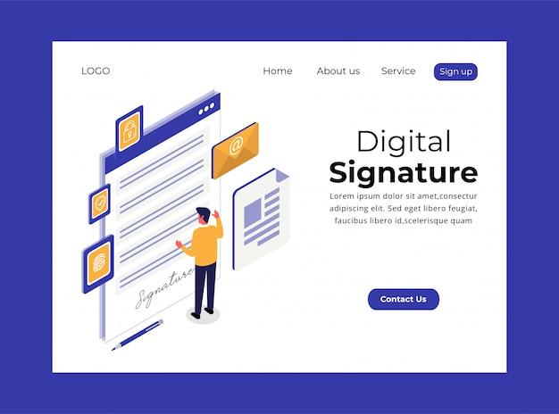 Page de destination isométrique de la signature numérique