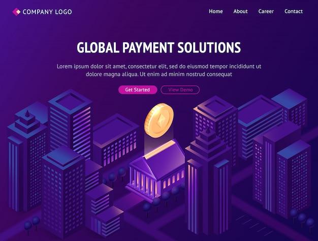 Page de destination isométrique des solutions de paiement mondiales