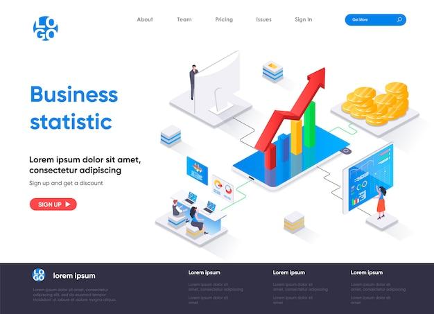 Page de destination isométrique des statistiques commerciales