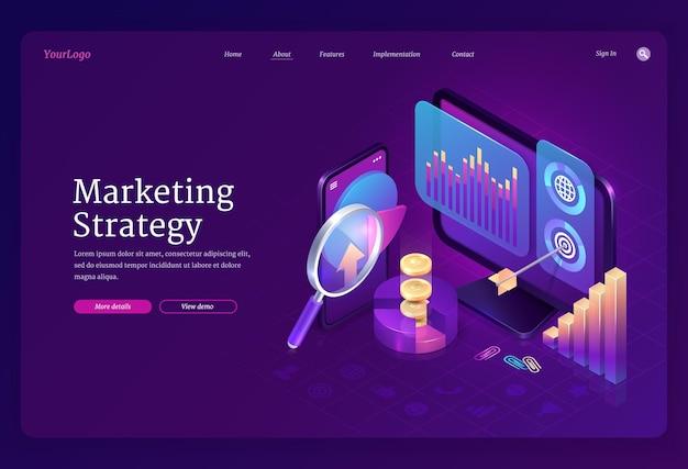 Page de destination isométrique de la stratégie marketing