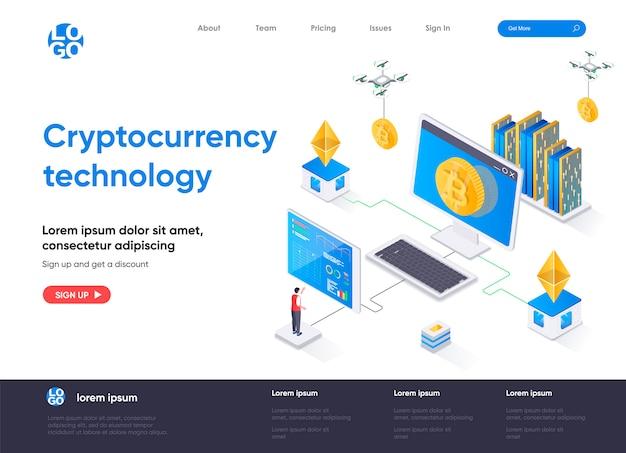Page de destination isométrique de la technologie de crypto-monnaie