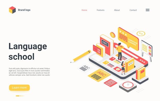 Page de destination isométrique de la technologie des écoles de langues