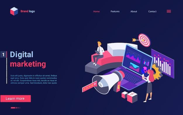 La page de destination isométrique de la technologie de marketing numérique fonctionne avec le public et le contenu
