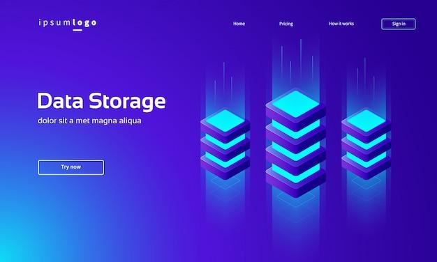 Page de destination isométrique de la technologie numérique, stockage de données