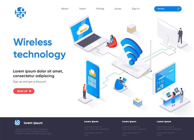 Page de destination isométrique de la technologie sans fil