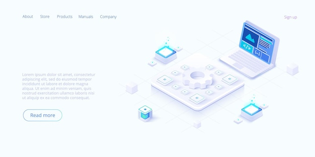 Page de destination isométrique des technologies numériques