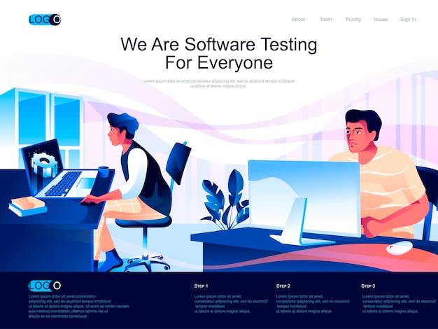 Page de destination isométrique de test de logiciel avec situation de caractères plats