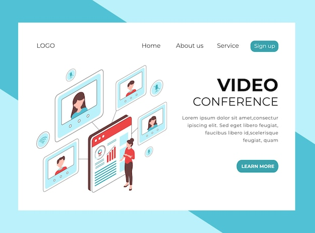 Page de destination isométrique de la vidéoconférence