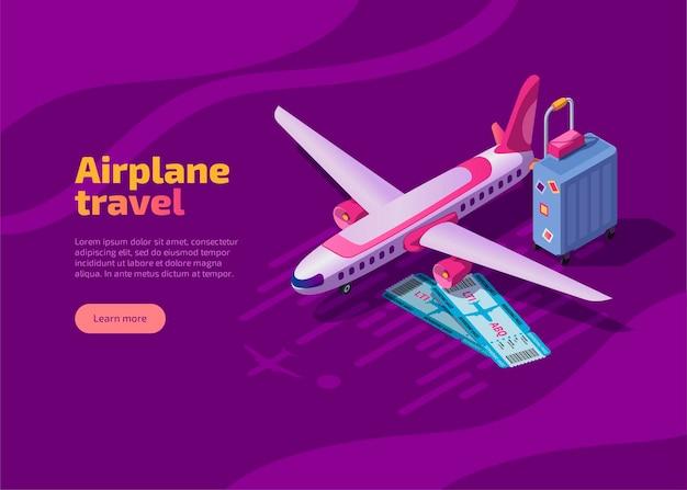 Page de destination isométrique de voyage en avion