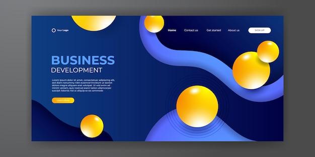 Page de destination jaune d'entreprise avec fond 3d moderne abstrait. fond liquide abstrait à la mode pour la conception de votre page de destination. arrière-plan minimal pour les conceptions de sites web.