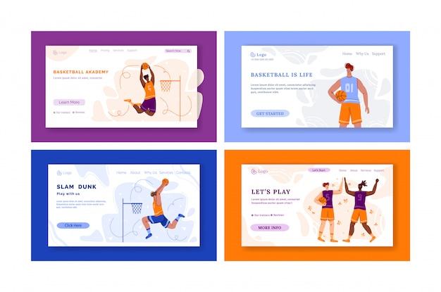 Page de destination - joueurs de basket-ball avec ballon