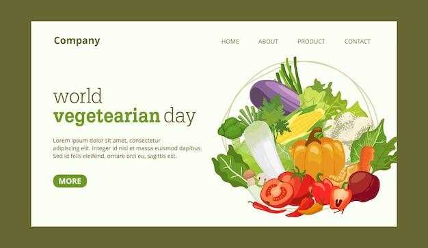 Page de destination de la journée mondiale des végétariens avec modèle d'illustration de légumes