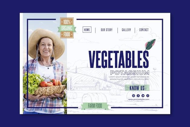 Page de destination des légumes bio et sains