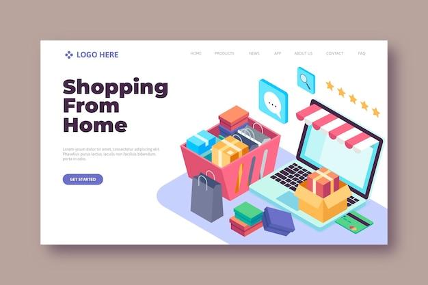 Page de destination en ligne de magasinage isométrique