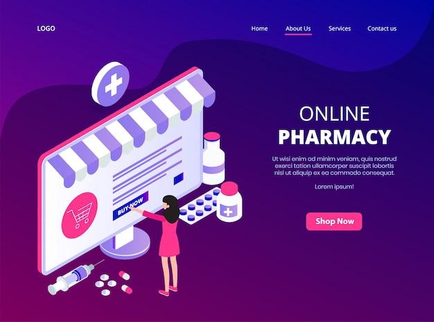 Page de destination en ligne de la pharmacie en ligne