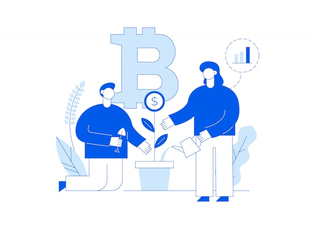 Page de destination de ligne plate moderne d'investissement de bitcoin avec de grandes personnes à la mode.