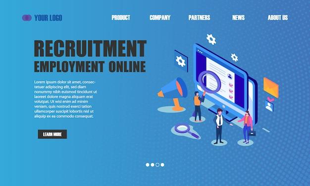 Page de destination en ligne de recrutement emploi