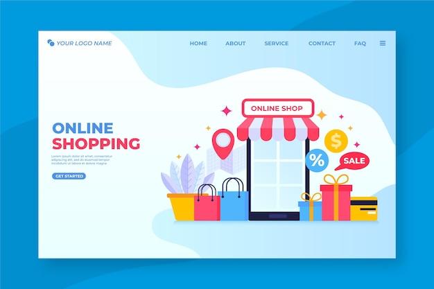 Page de destination en ligne shopping design plat