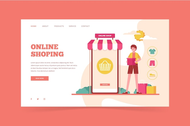 Page de destination en ligne de shopping à plat illustrée