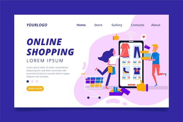 Page de destination en ligne de shopping plat