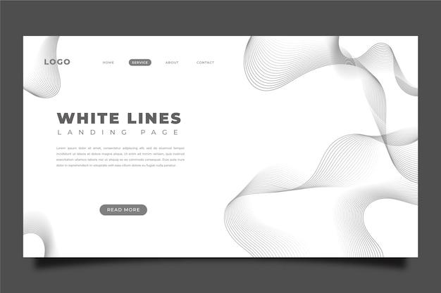Page de destination de lignes blanches plates