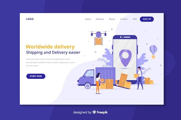 Page de destination de livraison dans le monde entier