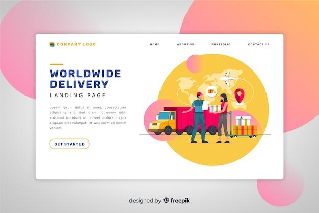 Page de destination de livraison mondiale