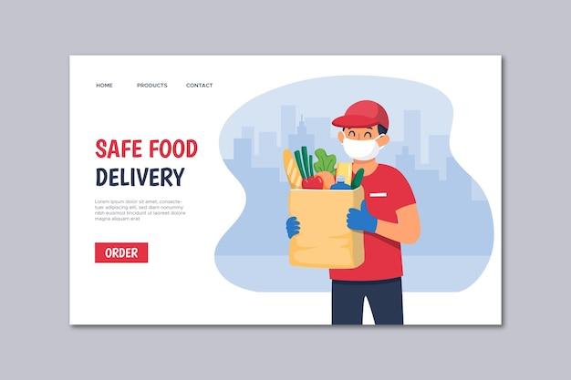 Page de destination de livraison de nourriture en toute sécurité
