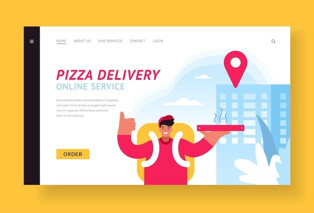Page de destination de la livraison de pizza en ligne