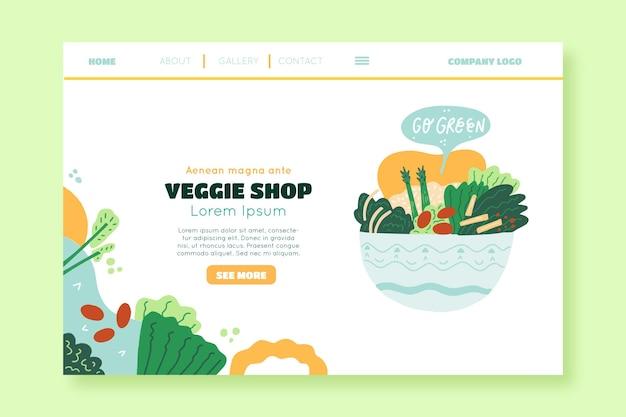 Page de destination de magasin de légumes dessinés à la main