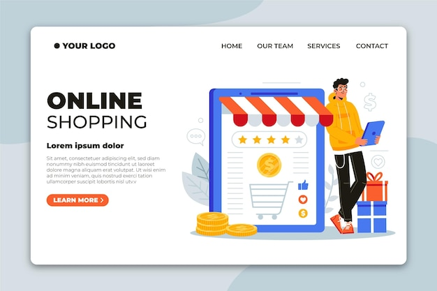 Page de destination de magasinage en ligne design plat