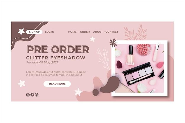 Page de destination de maquillage naturel cosmétique beauté