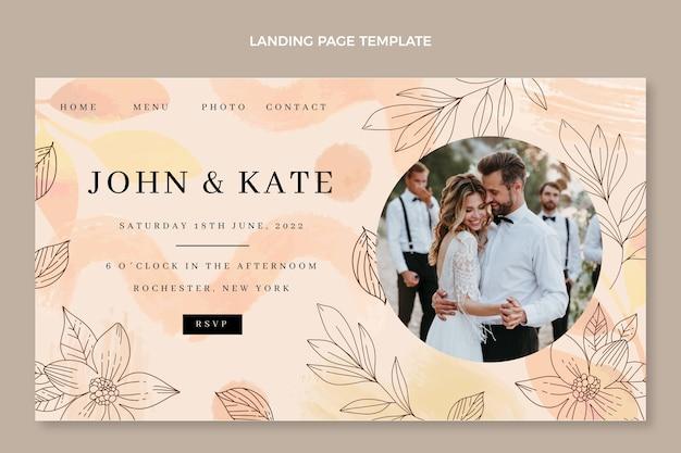 Page de destination de mariage aquarelle dessinés à la main