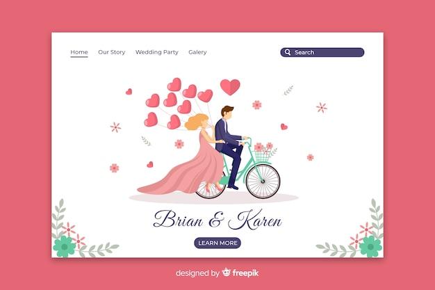 Page de destination de mariage de couple plat
