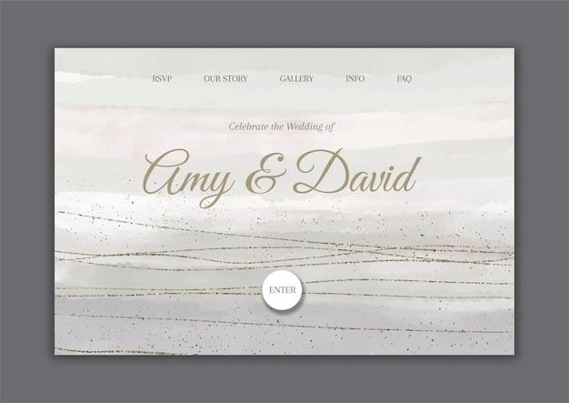 Page de destination de mariage décorative peinte à la main avec des éléments de paillettes