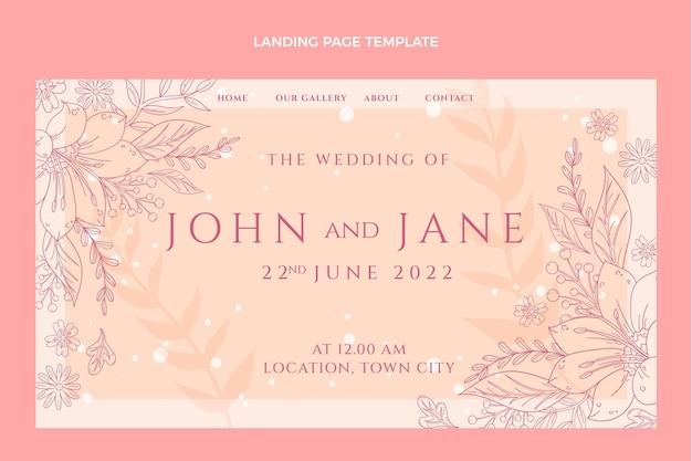 Page de destination de mariage dessinée à la main