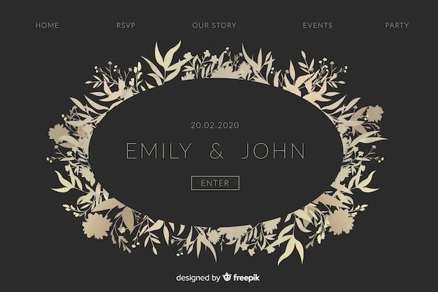 Page de destination de mariage élégant d'or