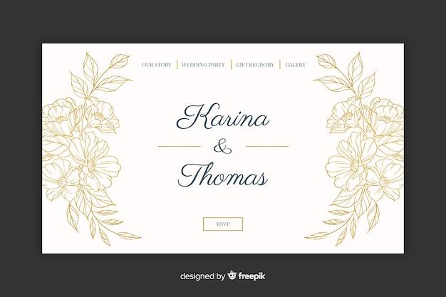 Page de destination de mariage élégant
