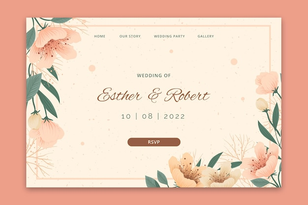 Page de destination de mariage floral