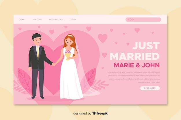 Page de destination de mariage juste marié