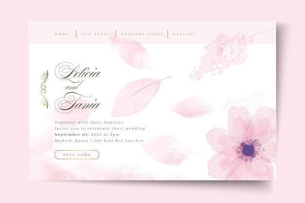 Page de destination de mariage minimale avec fleur