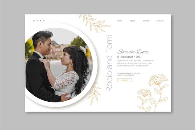 Page de destination de mariage minimale avec photo