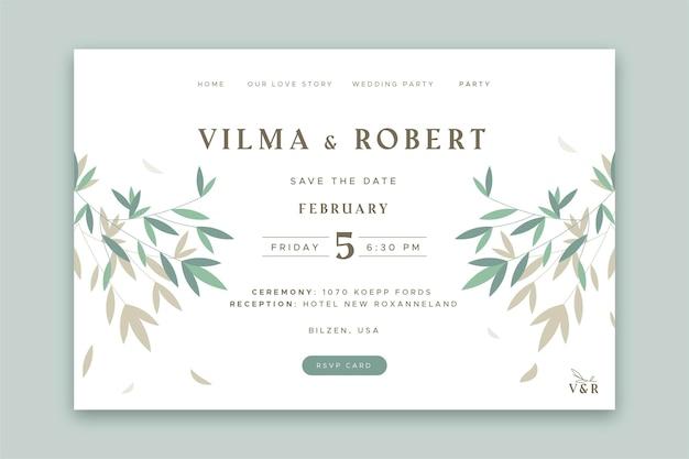 Page de destination de mariage minimale