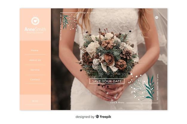 Page de destination de mariage minimaliste