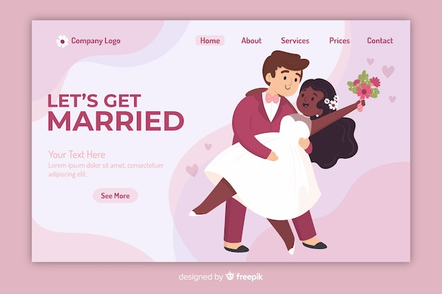 Page de destination de mariage de modèle