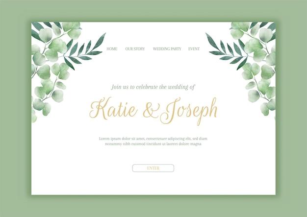 Page de destination de mariage avec un motif floral peint à la main